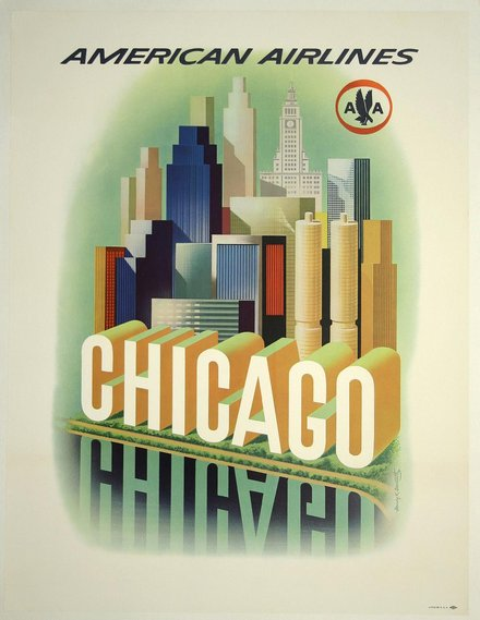 printables, classic posters, free download, graphic design, retro prints, travel, travel posters, vintage, vintage posters, Chicago, American Airlines - Vintage Travel Poster