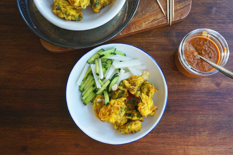 Try these scrumptious fried Shrimp Fritters with my easy peanut sauce ...