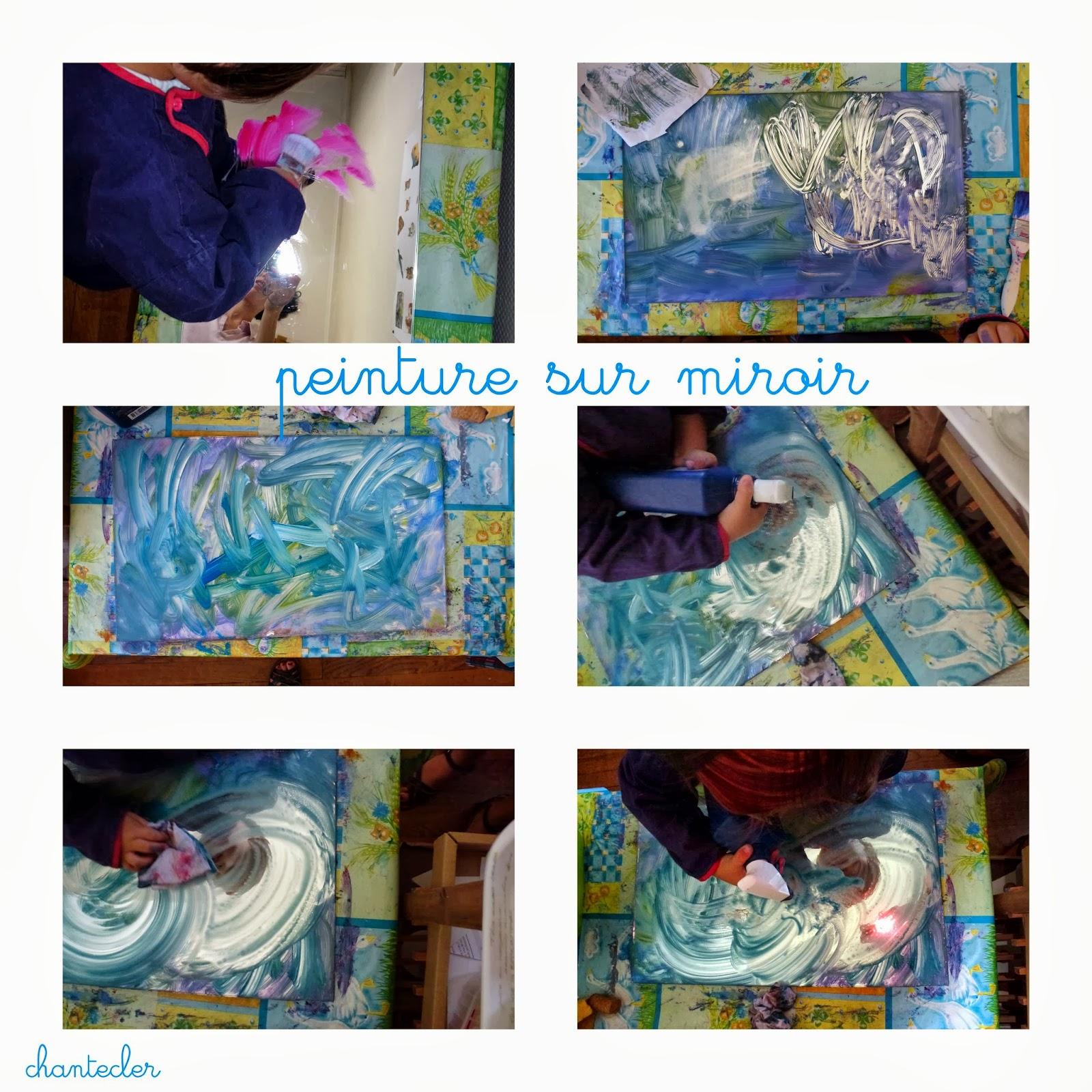 chantecler apprendre dans la joie peinture sur miroir. Black Bedroom Furniture Sets. Home Design Ideas
