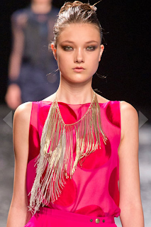 fine-magazine-fringe-tassels-trend-spring-2013-summer-fashion-jewelry-nina-ricci-asymmetrical-metallic-necklace-gold-fringe-pink-polka-dots-runway-catwalk