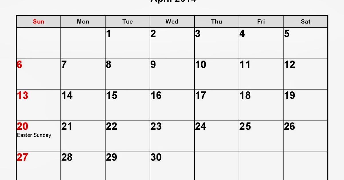 April 2014 Calendar Printable #3 - Printable Calendar 2014 ...