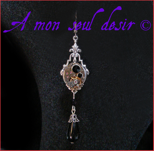 Boucles d'Oreilles steampunk mouvement de montre mécanique mécanisme watch face clock earrings