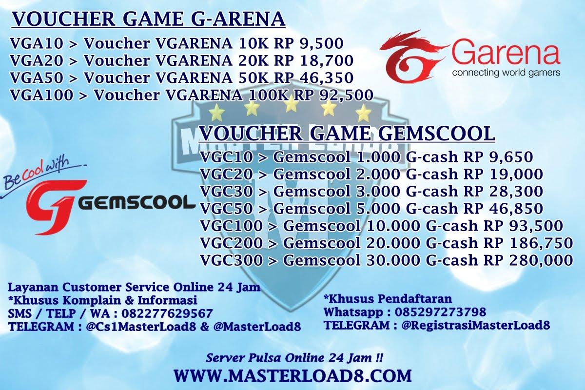 Voucher Game G Arena Gemscool Masterload8 Agen Grosir Server Garena 50k Selasa 14 Agustus 2018
