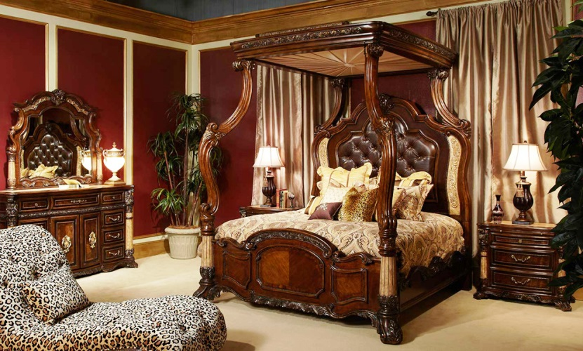 Victorian era bedroom furniture dark light wood luxury Victorian home furniture