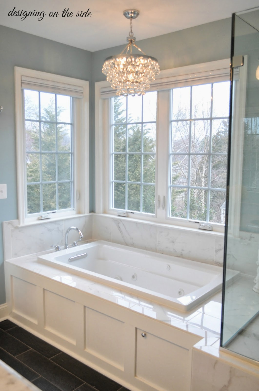 Designing on the side master bath reveal for Tile master bathroom