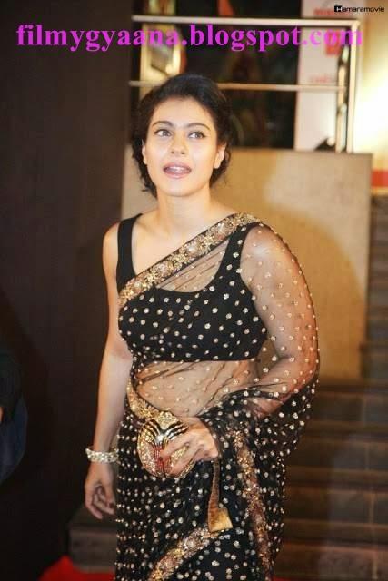 Kajol How Navel Show in Black Transparent Saree Photos