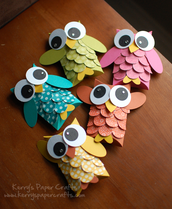 Kerry S Paper Crafts Makes These Colorful Owl Pillow Boxes  These