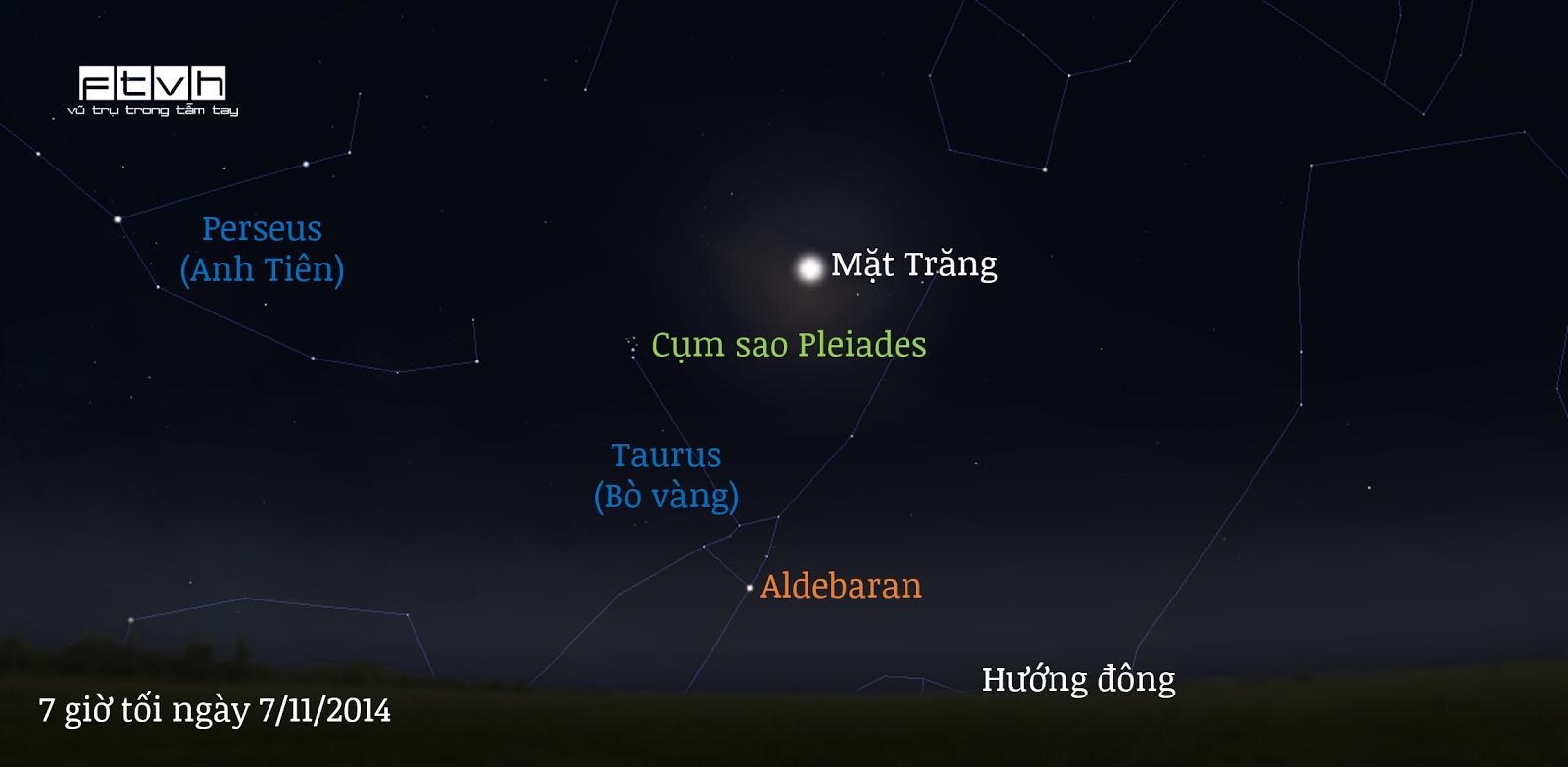 Bầu trời hướng đông lúc 7 giờ tối ngày 7/11/2014. Trăng rằm tỏa sáng cùng cụm sao Pleiades (M45) và ngôi sao màu đỏ cam Aldebaran trong chòm sao Taurus (Con bò vàng).