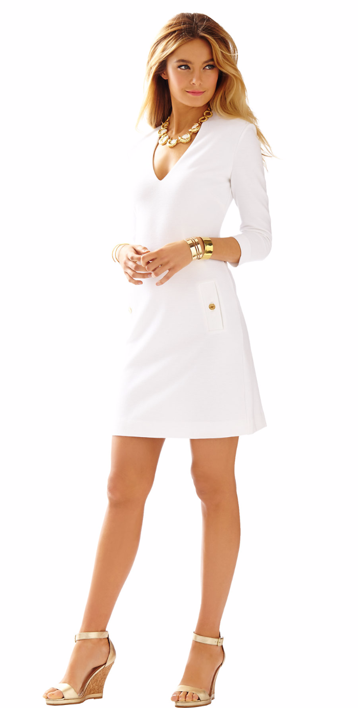 CHARLENA DEEP V-NECK KNIT White SHIFT DRESS