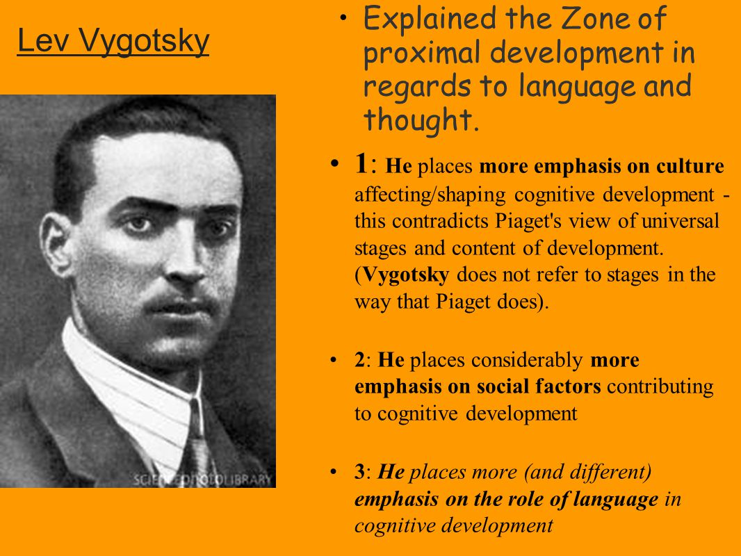 vygotsky's cognitive development theory And find homework help for other lev vygotsky, jean piaget questions at enotes   social interaction is a factor in piaget's theory of cognitive development.