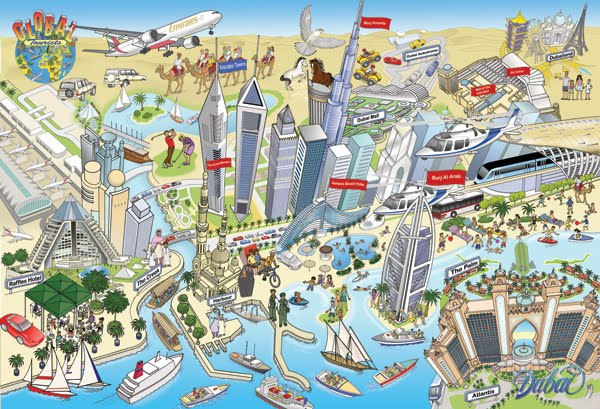 The Illustrator Richard Deverell Dubai illustrating tourist – Tourist Attractions Map In Toronto