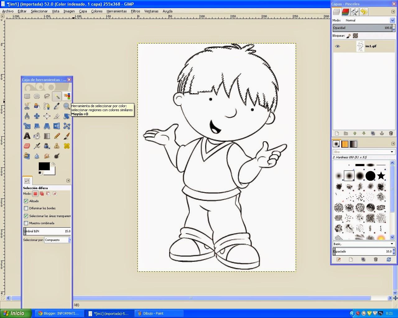 Informatica pasos para pintar un dibujo en lineas con gimp - Pasos para pintar ...