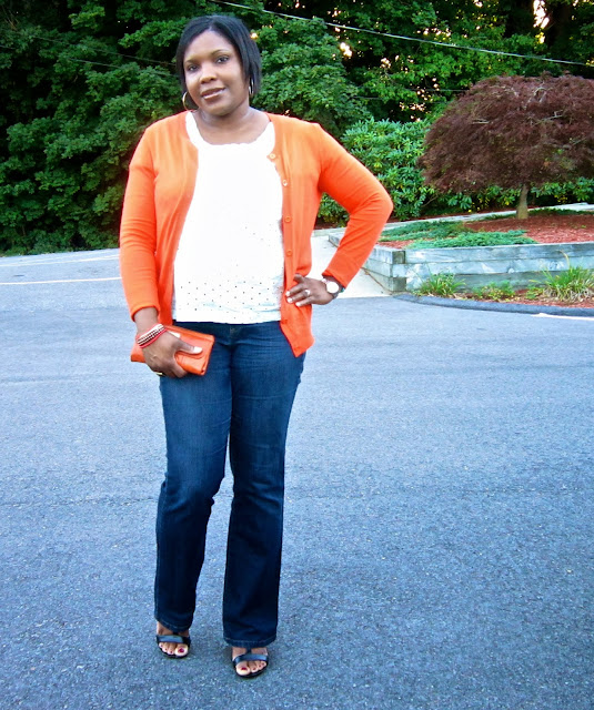 orange, cardigan, eyelet top, wedge sandals