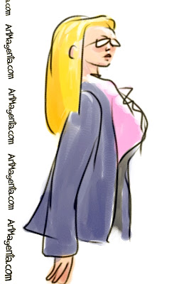The blonde is a gesture drawing finger painted on an iphone by illustrator Artmagenta
