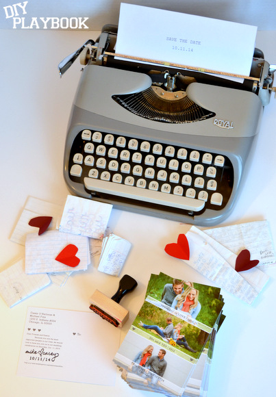 Love letter theme for our wedding save the date cards