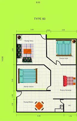 contoh denah rumah minimalis tipe 60 - desain gambar rumah