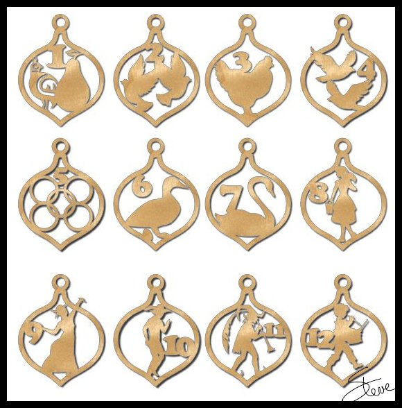 12 days of christmas ornaments scroll saw patterns - 12 Days Of Christmas Decorations