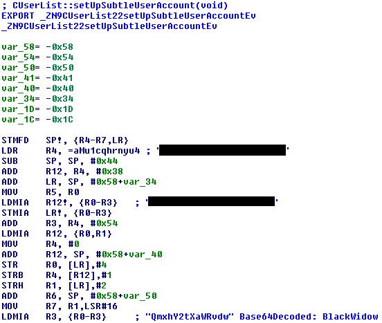 "IDA excerpt: ""setUpSubtleUserAccount"" function"