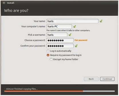 Pengisian data pengguna