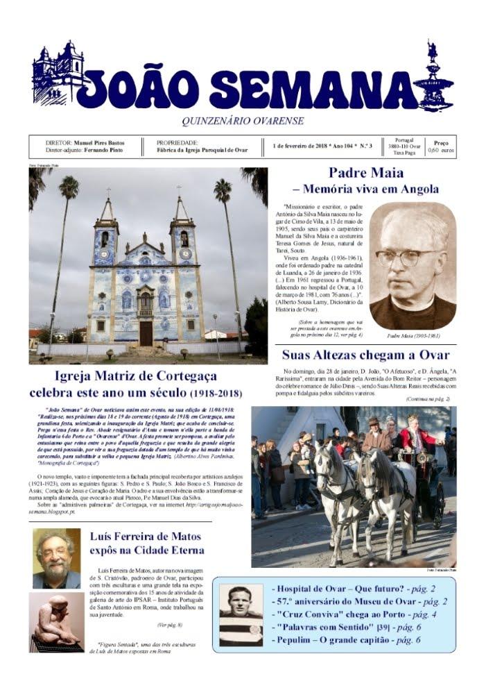 Jornal ovarense JOÃO SEMANA - Edição de 1 de fevereiro de 2018