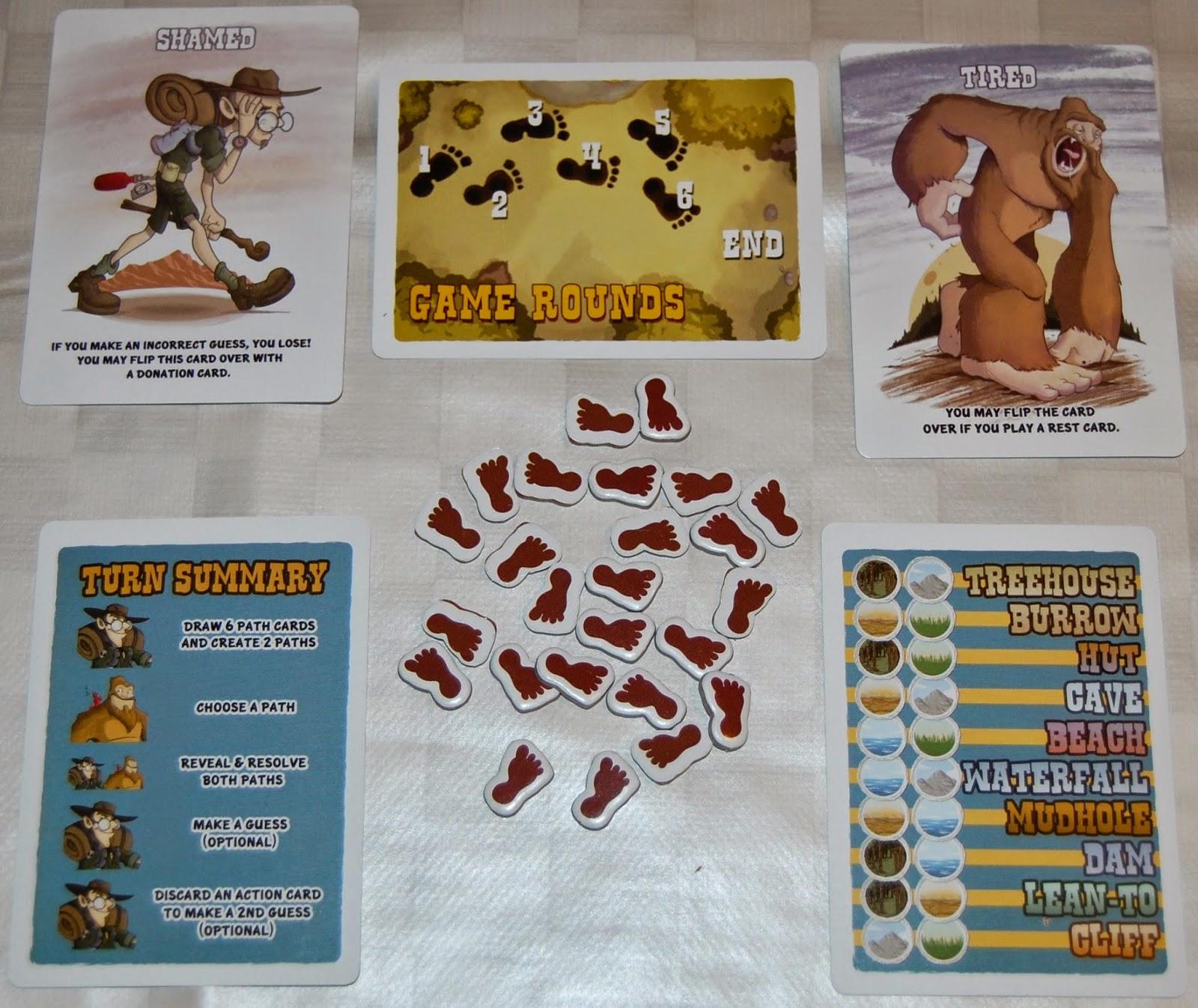 Cartas de personaje, de referencia y de track de rondas + tokens de huellas