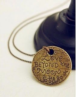 Image: Jade Onlines Retro Vampire Round Love Beyond the Moon and Stars Pendant Necklace