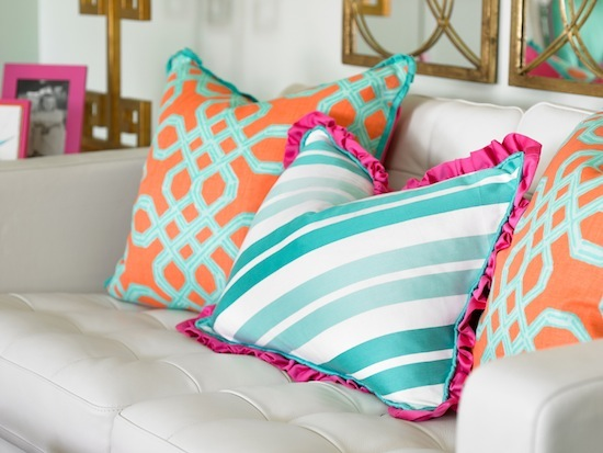 brightly colored throw pillows