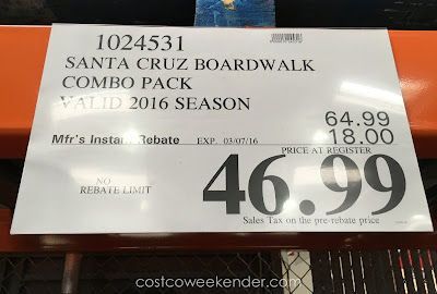 Deal for the Santa Cruz Beach Boardwalk 2 Rides + 2 Attractions Combo Pack (2016) at Costco