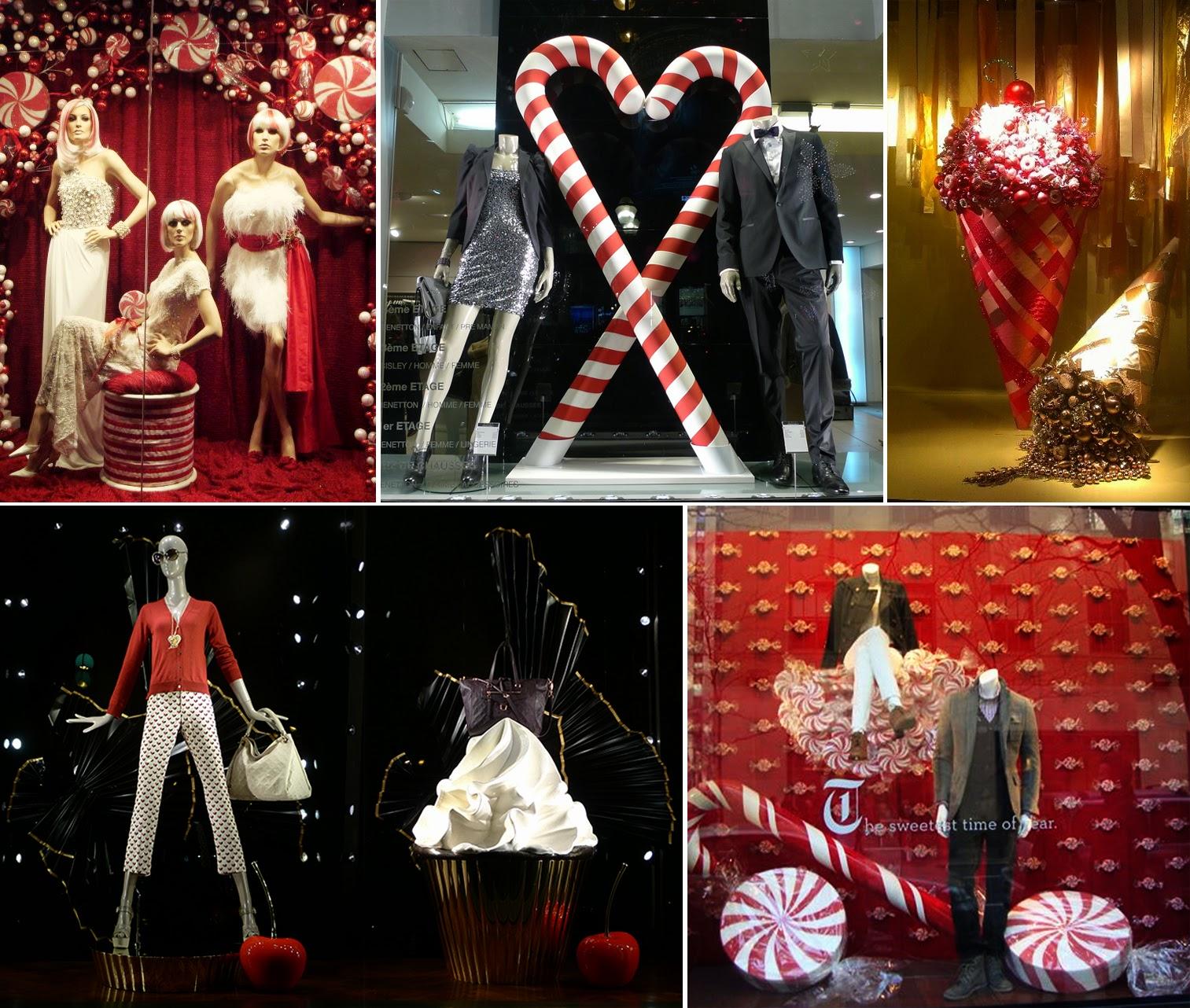 doces em vitrines de lojas de moda
