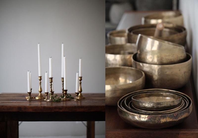 messinkiset kynttilänjalat ja kipot
