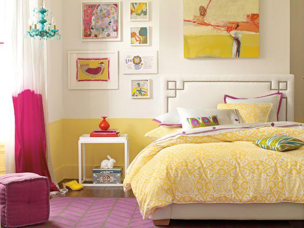 яркий дизайн комнаты для подростка девочки, спальня для подростка фото