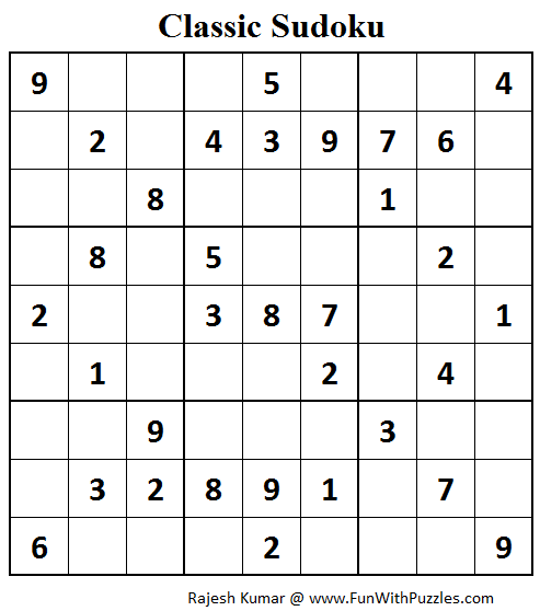 Classic Sudoku (Fun With Sudoku #68)