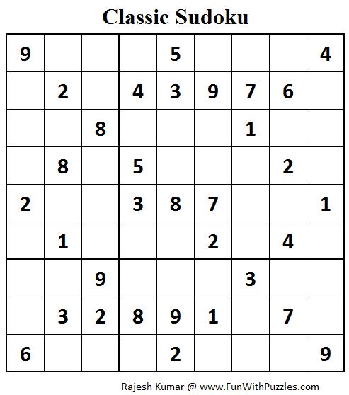 Classic Sudoku (Fun With Sudoku #68)