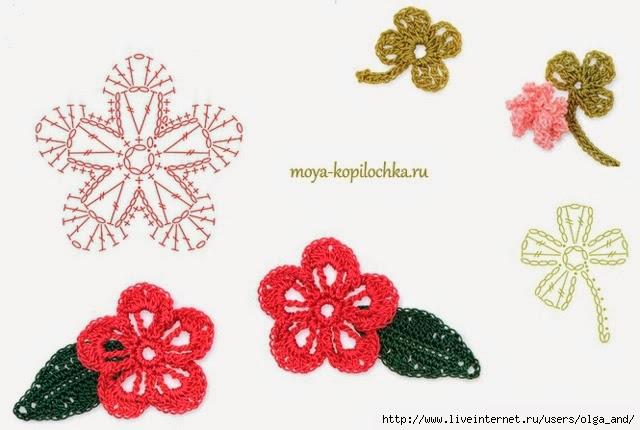 Вязание цветочков и листочков 349