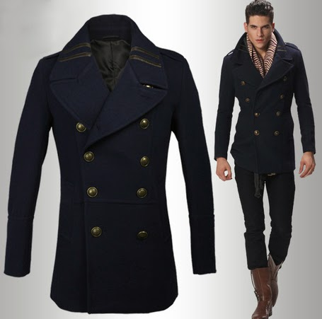 Mens navy blue London Style Pea Coat