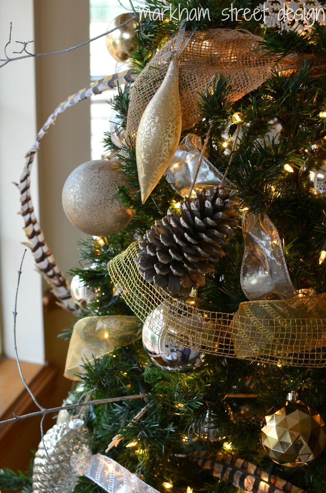 Laura orr interiors rustic glam christmas tree silver mercury glass and rustic ornaments although i did surprise myself with a few new ornaments that i forgot i bought after christmas last year solutioingenieria Image collections