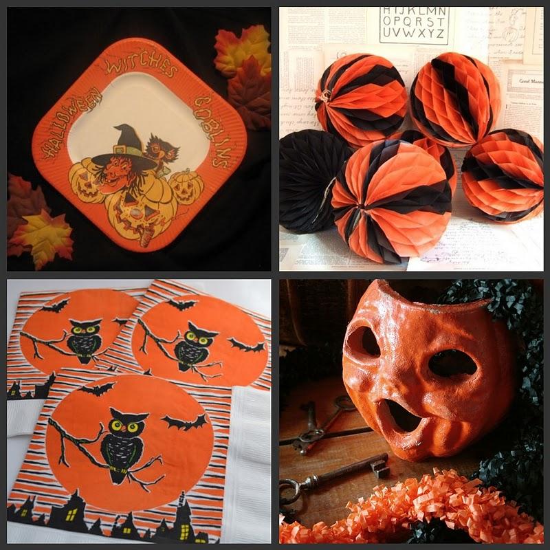 Vintage halloween paper decorations antique halloween tambourine