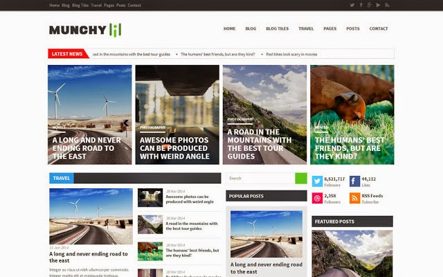 Free Download Munchy Mag Blogger Template