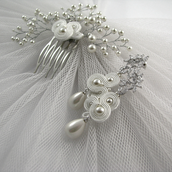 Sutaszowa biżuteria ślubna, komplet