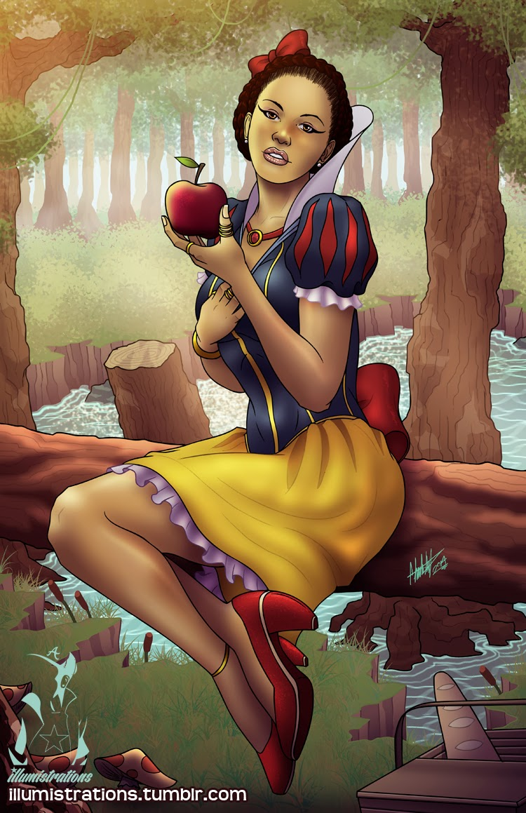 art illustration artwork drawing sketches disney princess princesses snow white illumistrations african american women woman black