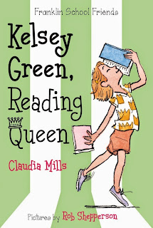 Book cover, Kelsey Green, Reading Queen. Illustration depicts a girl walking with her head upturned, looking into a book that she holds above her head with her left hand. She carries another book in her right hand.