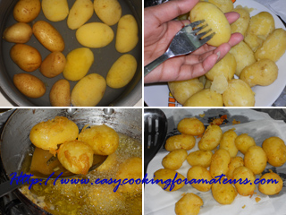 Wash baby potatoes. Pressure cook potatoes for 1 whistle or boil in ...