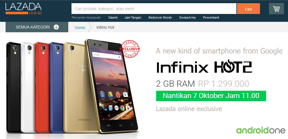 Flash Sale Infinix Hot 2 Android One Lazada 7 Oktober 2015