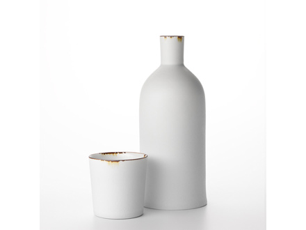 white porcelain bottle and beaker