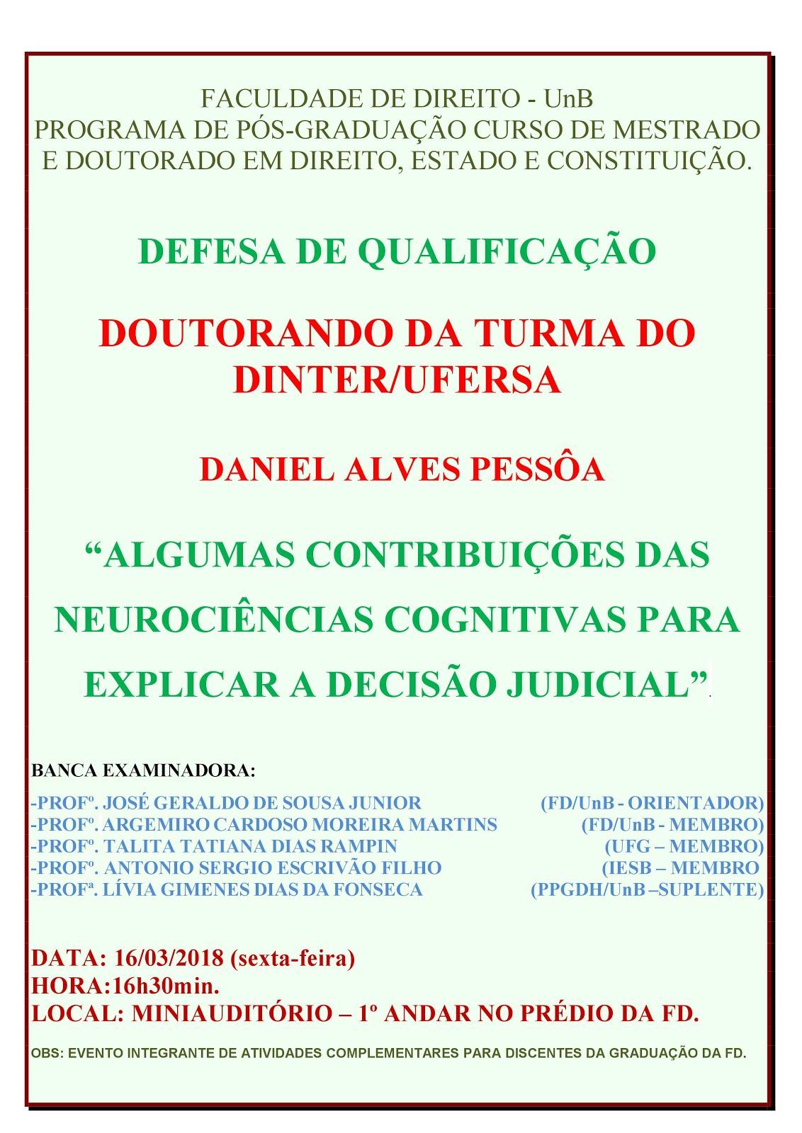 Convite para qualificação da Tese de Doutorado