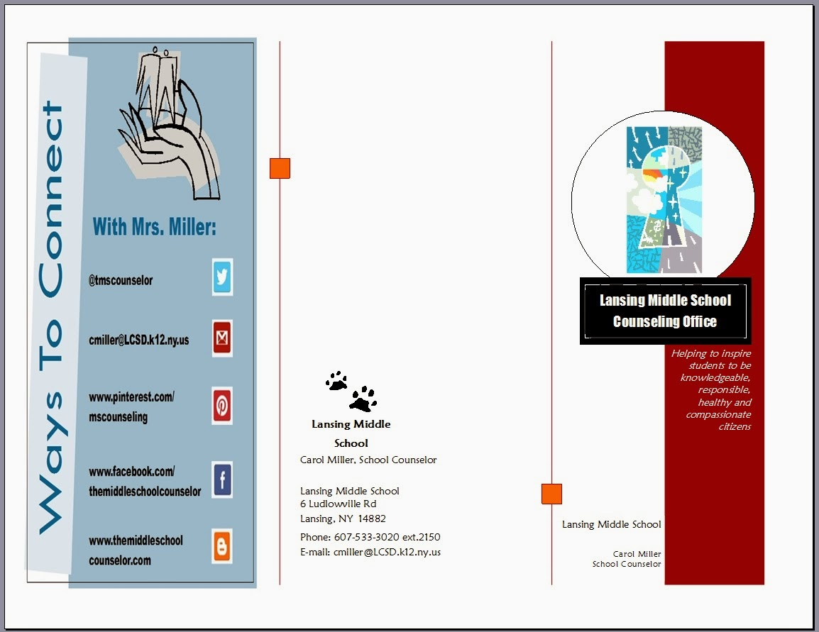 Handouts a school counselor 39 s best friend the middle for High school brochure template