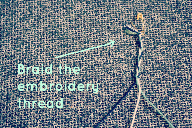 Braid the embroidery thread