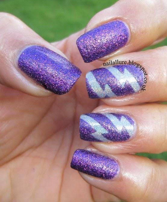 Silver Lightning Bolts Manicure