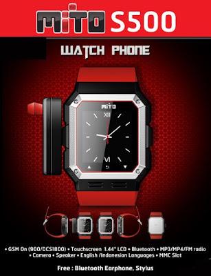 Harga dan Spesifikasi Mito S500, HP Jam Tangan Murah
