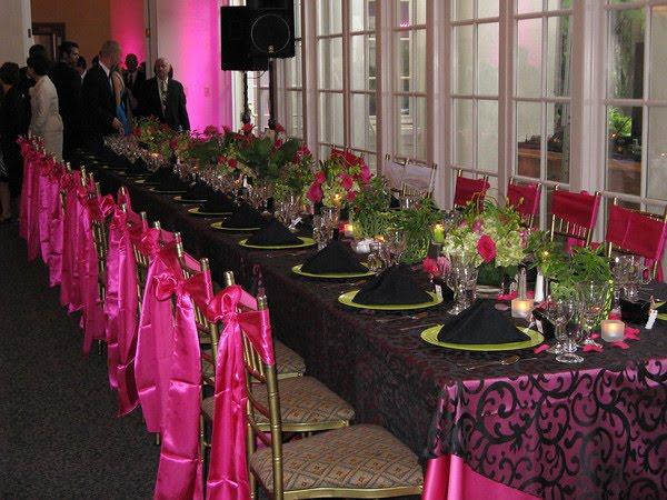 Pink Black And White Wedding Decoration Ideas : Wedding flower candles decorating